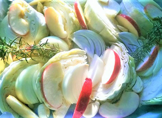 Roasted Cabbage & Apples with Balsamic Glaze